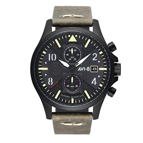 AVI-8 Men's Hawker Hurricane 45mm Grey Leather Band Steel Case Quartz Black Dial Analog Watch AV-4068-03