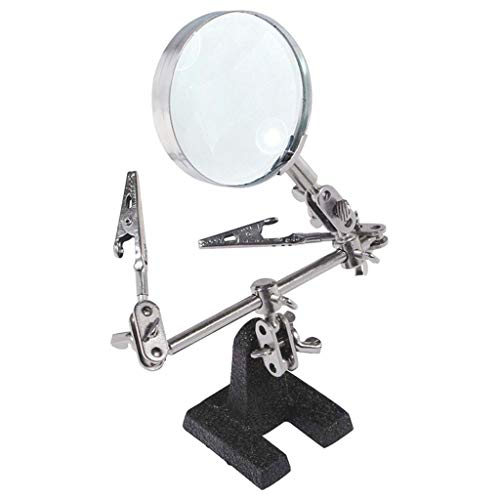 TWDYC Helping Third Soldering Stand with 5X Magnifying Glass 2 Alligator Clips 360 Degree Rotating Locking Arms Professional Tool