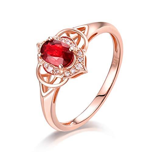 AnazoZ Anillos Mujer Rubí,Anillo Oro Rosa 18K Oro Rosa y Rojo Oval Hueco Rubí Rojo 0.66ct Diamante 0.06ct Talla 9,5