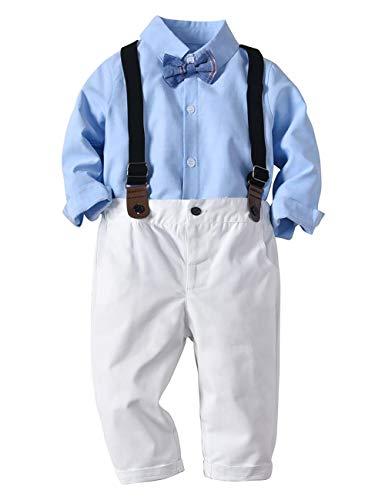 Echinodon [Bekleidung Set Baby Jungen Hemd mit Fliege + Hose mit Träger Babyanzug Festlich Bekleidungsset Taufe Anzug A100
