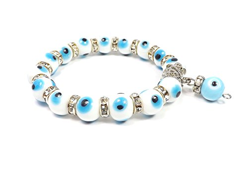 Remi Bijou Wunderschönes Elegantes Armband Armreif- Weiss Blau Nazar Boncuk blaues Auge Kugel