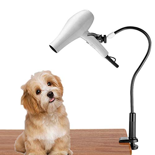 Dog Pet Grooming Table Hair Dryer Stand Holder Hands, Adjustable Flexible Third Arm Hose Tube Holder with Clamp (Black)