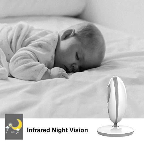 ANNEW Babyphone Baby Monitor mit Kamera Video Audio Temperatursensor Nachtsicht Wiegenlied Zwei-Wege-Gespräch (VB605-EU) - 5