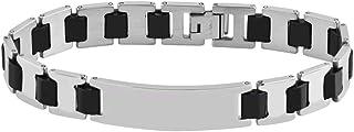 Brillibrum ID armband gliederarmband rostfritt stål gravyrplatta silver guld läderarmband svart partner-smycke vänskapsarm...
