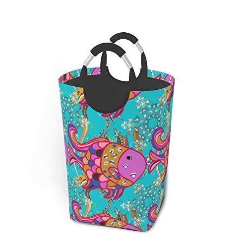 Cestas de lavandería plegables, cesto de ropa sucia, patrón de flores, pez morado, bonito cesto de lavandería plegable con asas de metal, tela de cesto de lavandería plegable para dormitorio,