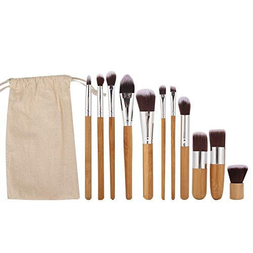 11pcs pinceaux de maquillage avec manche en bois fibre brosse cheveux, brosse cosmétique douce pour outil de toilettage de maquillage