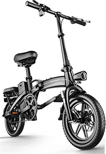 RDJM Bici electrica Bicicletas eléctricas rápidas for Adultos portátil fácil de Guardar en Caravana, Autocaravana, 14' Bicicleta eléctrica/conmuta ebike, 48V de Iones de Litio y silencioso Motor de