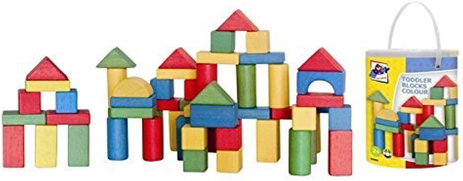 Woodyland Toddler Blocks in a Bucket with a Shape Sorting Lid (100Piece) by Woodyland