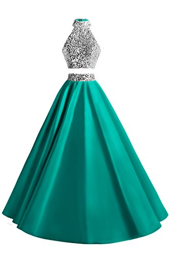 MsJune Women Two Piece Prom Dress Beaded Long Party Gowns Evening Dresses Turquoise 10 (Apparel)