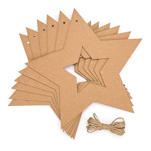 Baker Ross AV836 Hängende Stern-Kränze – Kreative Weihnachts-Kunst-und Bastelbedarf für Kinder zum Personalisieren und Dekorieren (10 Stück), Braun