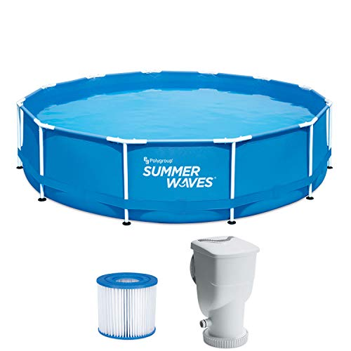 Summer Waves P2001230A156 Active Metal Frame 12ft x 30in Round Above Ground Swimming Pool Set with SkimmerPlus Filter Pump