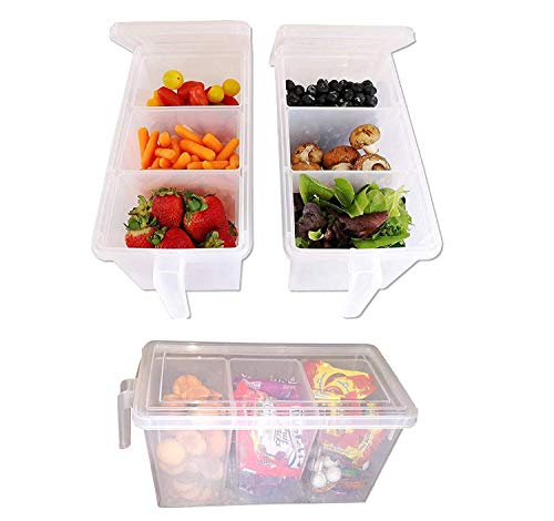 Praxon Plastic 3 in 1 Refrigerator Fruit/Vegetable Basket for Kitchen Dining Table - Refrigerator food Storage Container with Lid Fridge Kitchen Food Fruit Box with Handle, White (3)