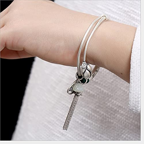 Lorraine 100% Real 990 Pure Silver Chains Tassel Bangles for Women Push-Pull Charms Bangle Jade Lotus Bracelets Fine Jewelry