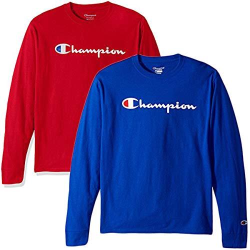Champion Men's Classic Jersey Script T Shirt -3 Piece Bundle Includes 2 Shirts Free BE Bold Gym Tote Bag Genie Outlet (Medium)