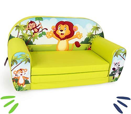 DELSIT universelles Kindersofa zum Ausklappen Ausklappbare Kinder Sofa Kindermöbel für Jungen und Mädchen Zoo, grün