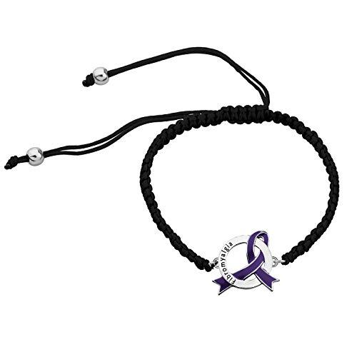 CHOORO Fibromyalgia Purple Ribbon Adjustable Bracelet Fibromyalgia Awareness Gift Fibromyalgia Jewelry Fibro Fighter Bracelet