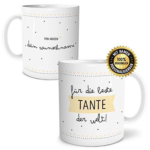 OWLBOOK Beste Tante Große Kaffee-Tasse mit Spruch im Geschenkkarton Personalisiert mit Namen Geschenke Geschenkidee für Tante Geburtstag Ostern