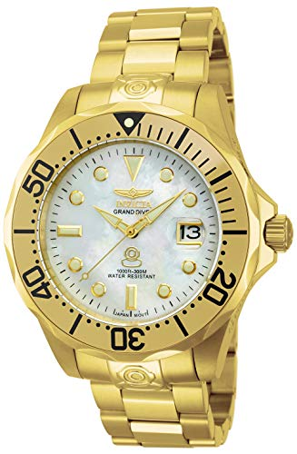 Invicta Men's 13939 Pro Diver Automatic Mother-Of-Pearl Dial 18k Gold Ion-Plated Stainless Steel Watch