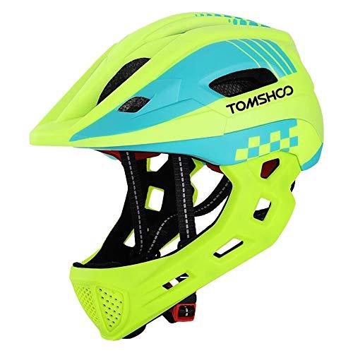 TOMSHOOH Casco Integral de Bicicleta para niños Casco de Patinaje de Seguridad para niños Casco de Patinar Protector de Cabeza Deportiva con luz Trasera y mentón Desmontable-(Amarillo Fluorescente)