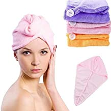 Walvia Quick Turban Hair-Drying Absorbent Microfiber Towel/Dry Shower Caps/Bathrobe Hat/Magic Hair Wrap for Women Hair wrap(Multi Color)