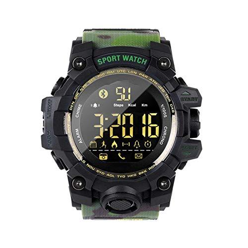 NUELLO Salud Y Estado Físico Rastreador De Ejercicios,IP68 Impermeable Bluetooth 4.0 Podómetro Rastreador De Actividad Pulsera Deportiva Smartwatch para Hombre-Camuflaje Verde Ejército