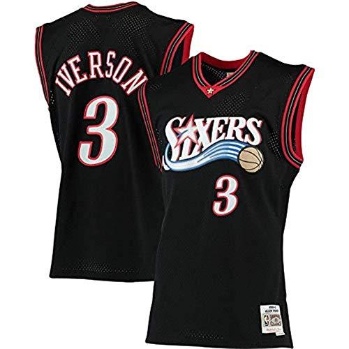 Gflyme Herren Trikot NBA Allen Iverson - Philadelphia 76ers # 3 Retro Vintage Basketball Jersey Jacke Weste, bestickte Swinger, Sportswear schwarz (Color : Black, Size : L)