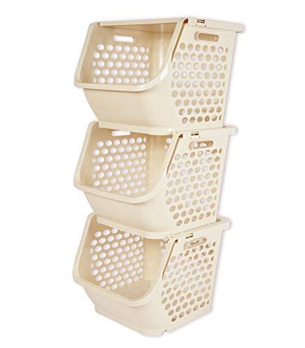 HAOGUT 3er Set Stapelboxen mit Deckel, Küchen Organizer für Gemüse, Obst, Zwiebeln, Kartoffeln Aufbewahrung, entnehmbarer Stapelkorb, Aufbewahrungsbox mit Deckel, Kunststoff