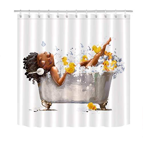 YEDL Afro Lady Afroamerikaner Sexy Schwarze Frau Gelbe Enten Blase Duschvorhang 180 × 180Cm