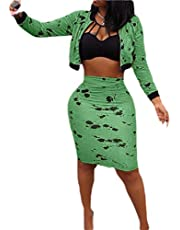 GAGA Women 2 Piece Outfits Floral Print Long Sleeve Crop Tops Zipper Coat and Skinny High Waisted Midi Skirt