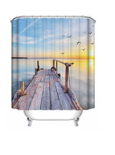 S.D.Maket Schönes leben* spezielle Design Digitaldruck Badewannenvorhang Duschvorhänge Duschvorhang mit 12 Duschvorhangringe anti schimmel 180*200cm (Holzbrücke)