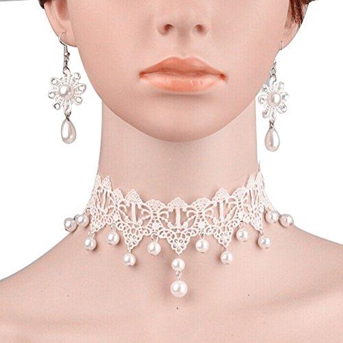 Pixnor Bridal fleur collier de perles avec paire de boucles d'oreilles