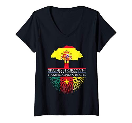 Mujer Raíces canadienses de cultivo español España Canadá Árbol ge Camiseta Cuello V