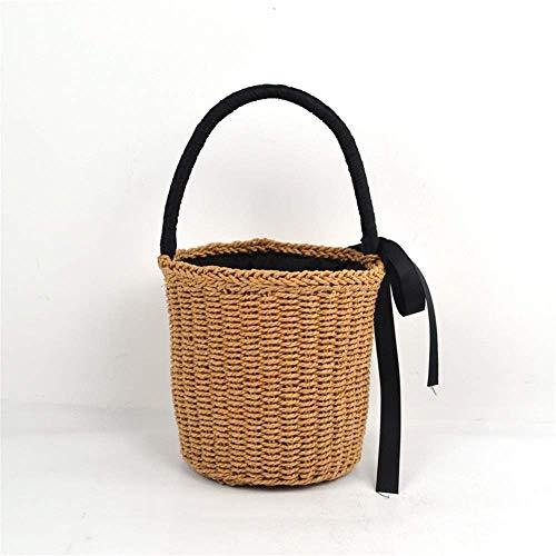 ZEH Bolso tejido para mujer, pequeño y portátil, tejido de paja, pequeño y fresco, bolsa tejida para mujer (color: marrón, tamaño: talla única) FACAI (color: marrón, tamaño: talla única)
