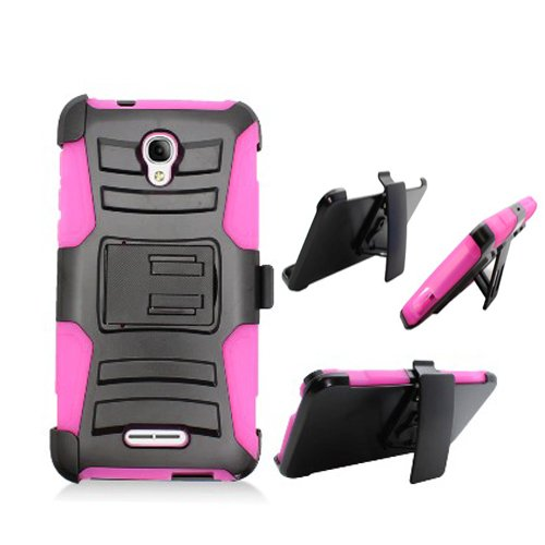 Phone Case at&T Alcatel-Allura Prepaid GoPhone/Fierce-4 MetroPCS/Pop-4-Plus Cover Kickstand Combo Holster Belt Clip (Holster-Pink Edge Case)