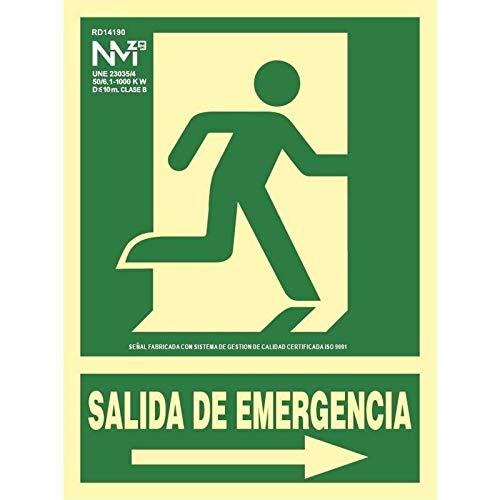 Normaluz RD14191 - Señal Luminiscente Salida De Emergencia Flecha Izquierda 22,4x30cm Clase B PVC 0,7mm Evacuación Homologada, verde