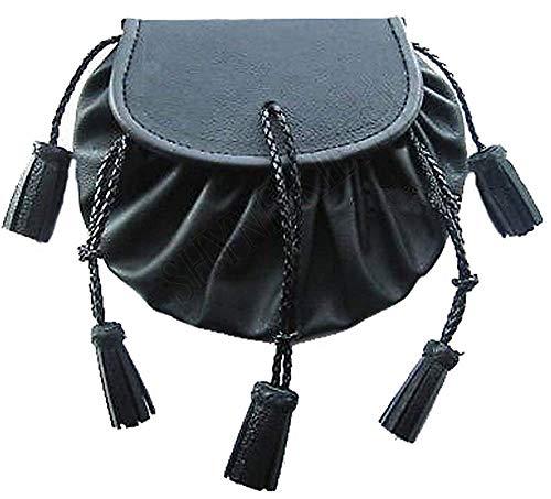 Falda Escocesa Sporran Montañés Estilo Jacobita Bolsa en Negro Cuero kiltwear para Kilts