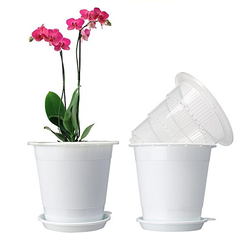 Mkono Plastic Planter Pot, Orchid Pots with Holes Mesh Net Orchid Planter White Flower Pots with Drainage Saucer Trays for Home Decoration 2 X 4 Inch Inner Pots and 2 X 5 Inch Outer Planters Included