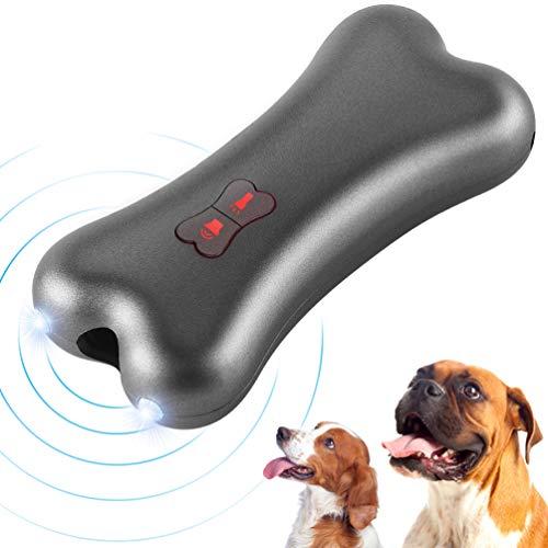 Petacc Antiladridos Perros,Dispositivo Antiladrido de Mano Dispositivo de Entrenamiento de Controlador de Ladridos de Perro Disuasor Ultrasónico de Ladrido de Perro con luz LED, Carga USB (Gris)