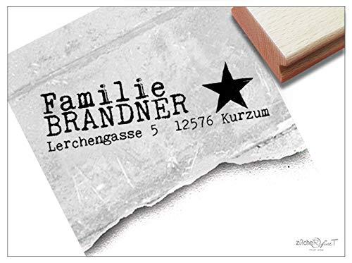 ZAcheR-fineT - individuele adresstempel ster, Big Star - familiestempel bedrijfstempel gepersonaliseerd naam, adres, geschenk