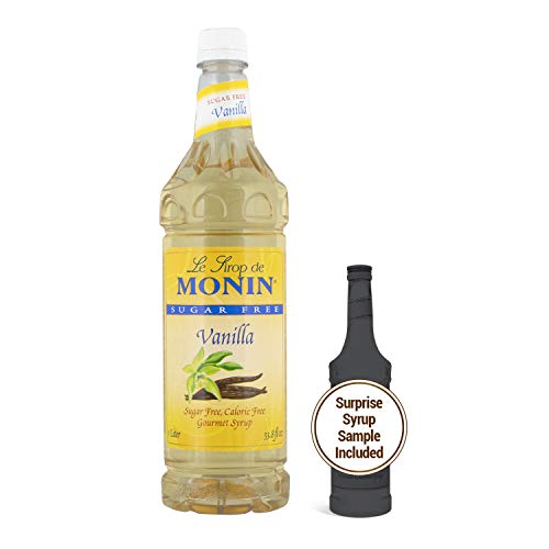 Monin - Sugar Free Vanilla Syrup, Bold Vanilla Bean Flavor, Great for Coffee, Cocktails, & Lattes, Gluten-Free, Non-GMO (750 ml)