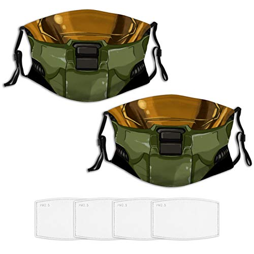 Master Chief Helmet 2 PCS Face Mask 4 Filters Reusable Bandana Scarf Adjustable Ear Loops Nose Wire Washable Comfortable Coth
