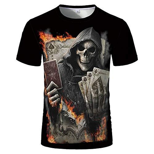 Sunofbeach Unisex 3D T-Shirt Lustige Druck Beiläufige Kurzarm T-Shirts Tee Tops, Gotische Hippie Feuer Poker Karten Schädel Lustige T-Shirts Für Männer, Frauen, 5XL