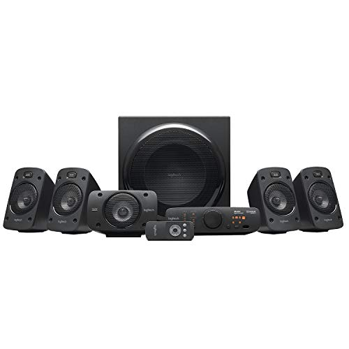 Logitech Z906 5.1 Sound System, luidspreker met 1000 Watt surround sound, THX, meerdere audio-ingangen, afstandsbediening, UK stekker, PC/PS4/Xbox/stereo-installatie/TV/smartphone/tablet - zwart