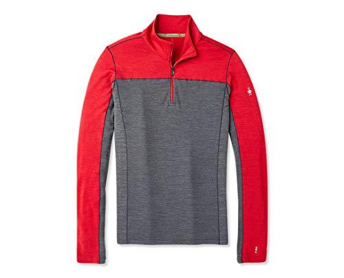Smartwool Long Sleeve ¼ Zip - Men's Merino Wool Sport 250 Performance Pullover Chili Pepper Heather XX-Large