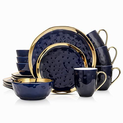 Stone Lain Porcelain 16 Piece Dinnerware Set, Service for 4, Blue and Golden Rim