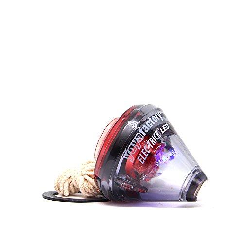 YoyoFactory ELEC-Trick LED Trompo con Rodamientos de Bolas y Cuerda - Negro / Rojo (Iluminar LED, De Principiante a Profesional, toupie, spintop, peonza)