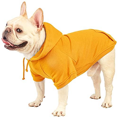 SETSBO Basic Dog Hoodie Pet Clothes Sweater with Hat, Casual Sports Hoodie Sweatshirt for Medium Large Dogs (Pet Hoodie Orange, Medium)