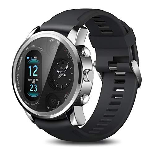 WRLR Inteligente Reloj Pulsera De Doble Huso Horario Smart Display Reloj Reloj Inteligente (Color : Silver)