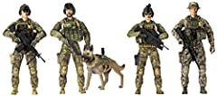 4 Army Ranger figures and Ranger K9 includes assorted Military gear including machine guns and helmets with night vision goggles. Realistic 1/18 scale figures can stand alone to encourage role play, imagination and creativity. Each figure is fully po...
