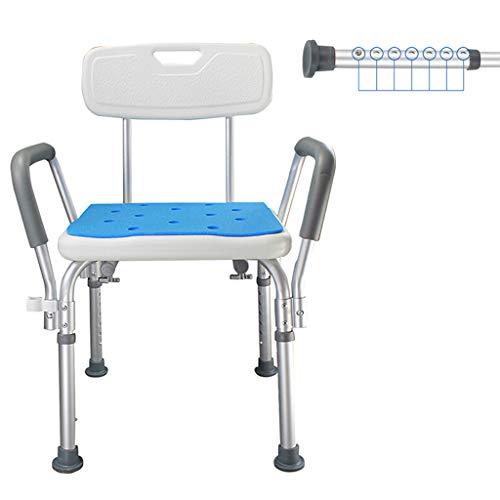 Douchestoel, dik aluminium In hoogte verstelbare antislip badkruk met armleuning en rugleuning - voor ouderen Senior gehandicapte